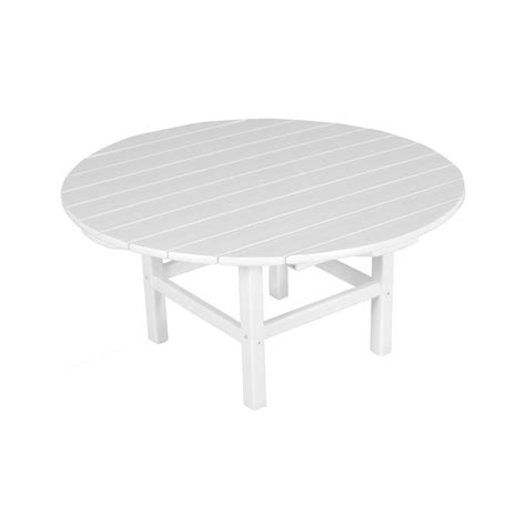 white round outdoor table polywood white 38 in round patio conversation table