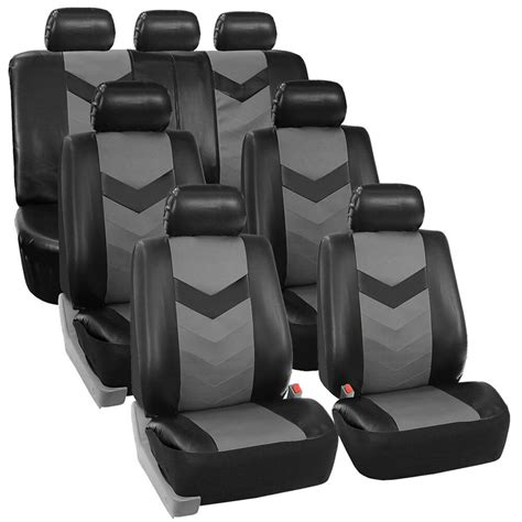 3 Seat Covers by 3 Row Car Seat Covers Leather 7 Seater Suv Set Gray Ebay