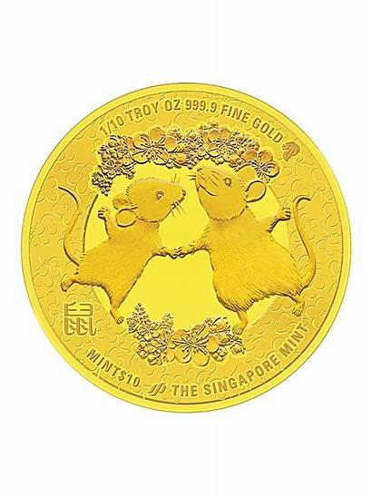 Mint Singapore Gold Medallion Lunar Rat Fine