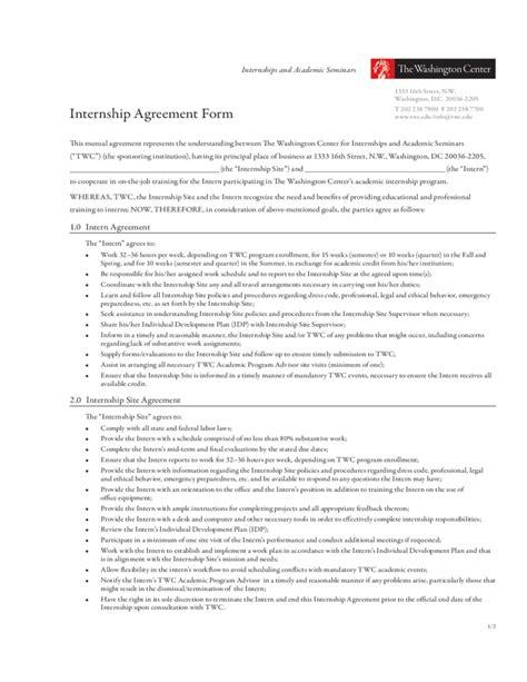 internship program template internship agreement form the washington center free