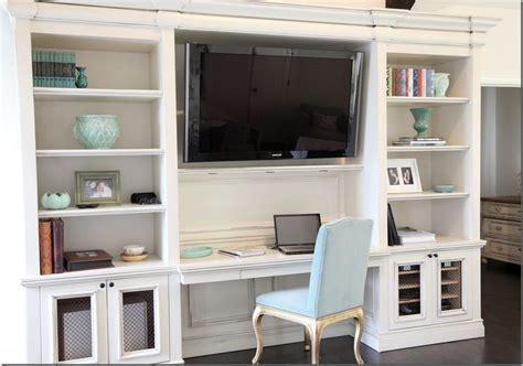 built in wall unit with desk and tv pinterest