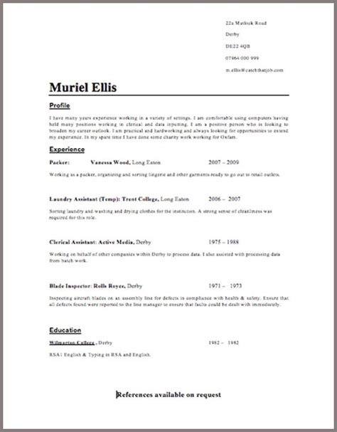 Format Of Cv And Resume by Microsoft Resume Templates 2016 Bpo Experience Resume Templates Curriculum Vitae Resume Template