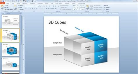 3 Dimensional Cube Template 3d Cubes Template For Powerpoint