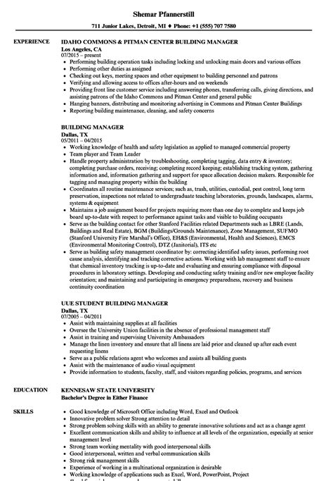 Resume Building by Building Manager Resume Sles Velvet