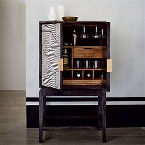 Black and White Inlaid Drinks Cabinet