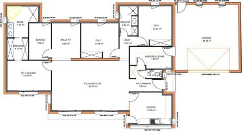 plan maison plain pied 3 chambres 1 bureau plan maison contemporaine plain pied 4 chambres maison
