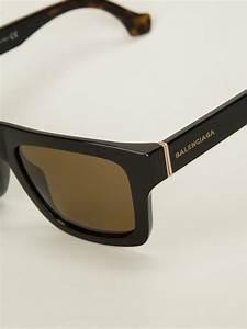 lyst balenciaga square frame sunglasses in black for