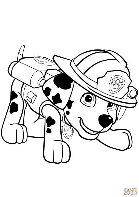 paw patrol marshall puppy coloring page  printable coloring pages