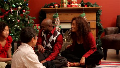 family celebrating christmas stock footage video