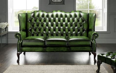 Chesterfield Settees Second by Green Chesterfield 3 Seater High Back Chair Designersofas4u