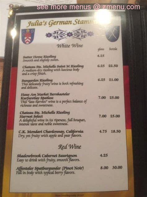 menu  julias german stammtisch restaurant