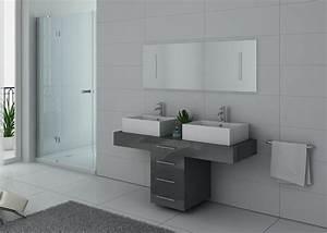 Meuble De Salle De Bain Double Vasque : meuble 2 vasques gris dis988gt meuble de salle de bain ~ Melissatoandfro.com Idées de Décoration