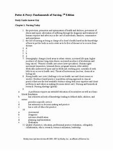Nursing Study Guide Answer Key