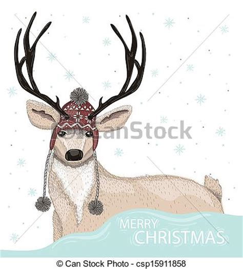 cute deer  winter background cute deer  hat