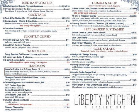 kitchen menu menu at liberty kitchen oyster bar houston Liberty