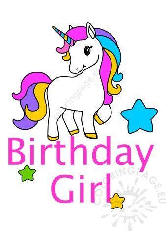 happy birthday girl unicorn printable coloring page