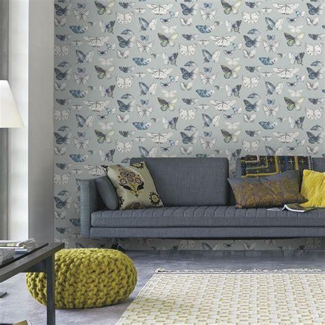 feature wall wallpaper   lounge teal fern motif