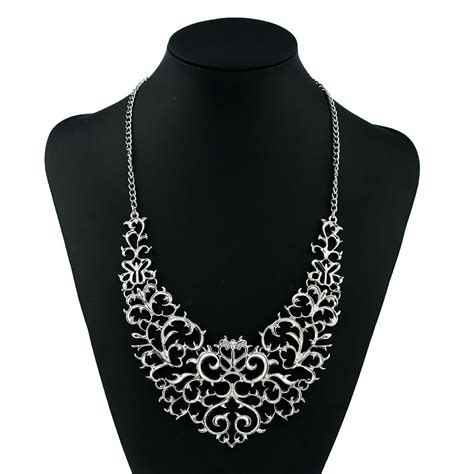 seller silver vintage style filigree hollow bib