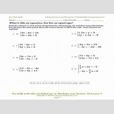 Systems Of Equations Elimination Worksheet Homeschooldressagecom