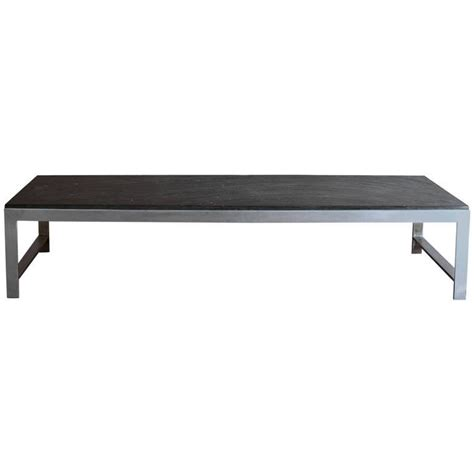 large fine french 1970s metal and slate coffee table for