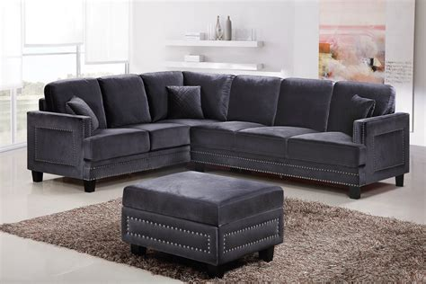 sectional sofa with nailhead trim braylee modern grey velvet sectional sofa with nailhead trim