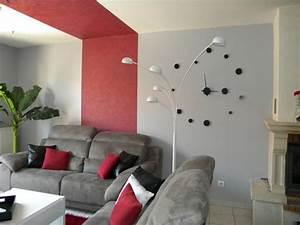 deco salon noir et blanc rouge With deco salon moderne noir et blanc