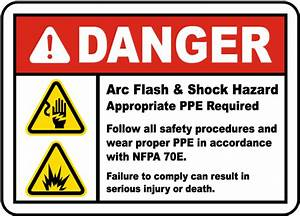 Danger arc flash shock hazard label j5539 by for Danger arc flash labels