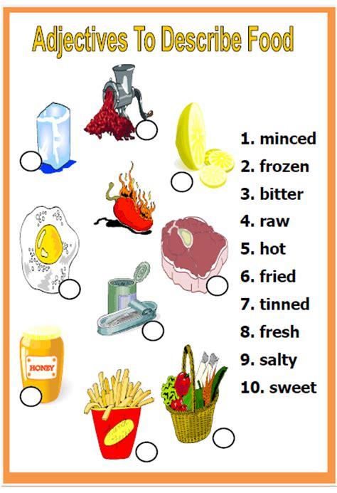 adjectives  describe food worksheet