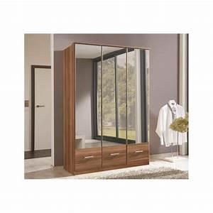 Imagine 3 Door Walnut Mirror Wardrobe - Forever Furnishings