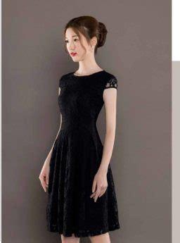 dress hitam brokat lengan pendek  jual model