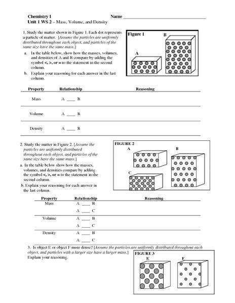 Density Worksheet Middle School Homeschooldressagecom
