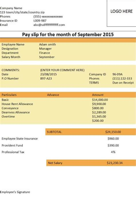 payslip formats word  excel  sample templates