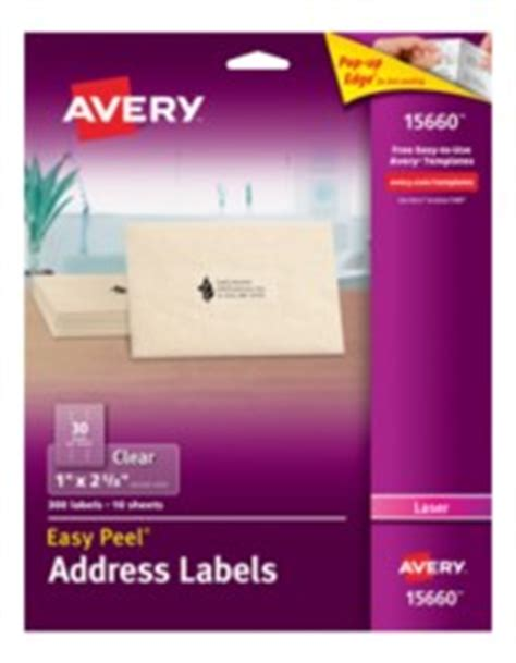 avery 15660 template avery easy peel clear address labels