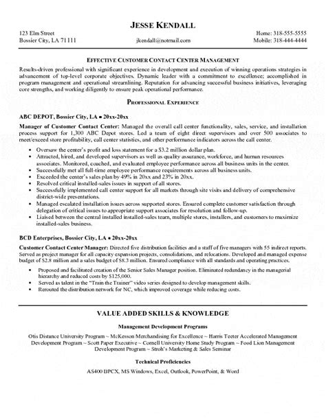 Sle Of Call Center Resume Objective by Call Center Resume