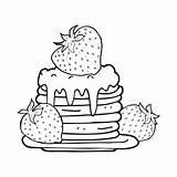 Pancake Cartoon Stack Wit Zwart Blanco Negro Pannenkoek Kleurplaat Panqueques Strawberries Pannekoek Dibujos Fresas Animados Pila Depositphotos Stockillustratie Aardbeien Colorear sketch template