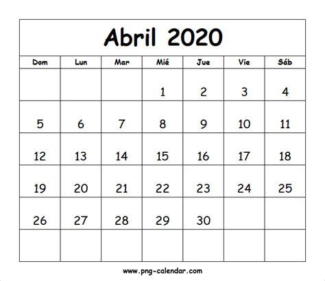 abril calendario imprimir spanish calendar