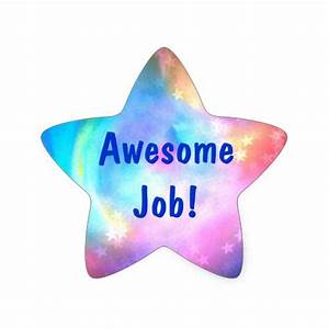 Awesome Job Rainbow Star Multi Color Star Sticker | Zazzle