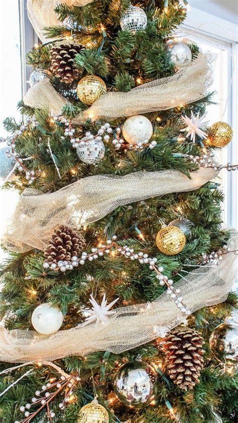 rustic glam christmas tree decor    budget