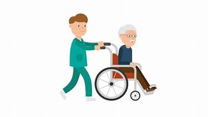 Wheelchair Patient Nurse Cartoon Pushing Clipart Nursing