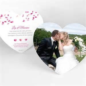 carte de mariage carte de remerciement pétales mariage coeur simple