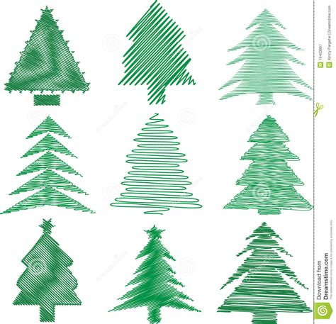 scribble christmas trees stock vector illustration of