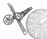 Coloring Satellite Pages Space Travel Orbit sketch template
