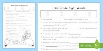 third grade sight words worksheet activity sheet fry words