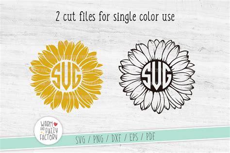 sunflower svg cut file sunflower monogram svg flower svg  cut files design bundles