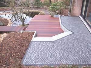 terrassengestaltung holz granitpflaster galabau mahler With französischer balkon mit garten terrassengestaltung