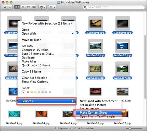 create a phone create a contact sheet of thumbnails with automator in mac