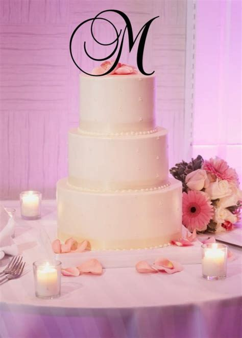 tall acrylic monogram initial wedding cake topper  letter                p