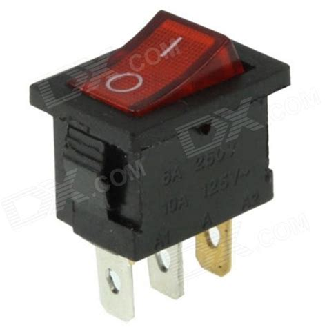 l on off switch rocker switch 3 pin on off red black 6a ac 250v