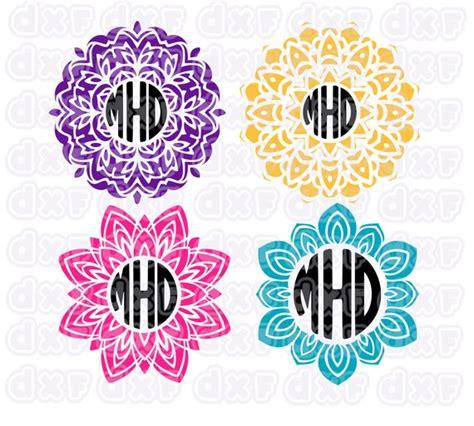 mandala monogram svg circle monogram frameflower svg dxf