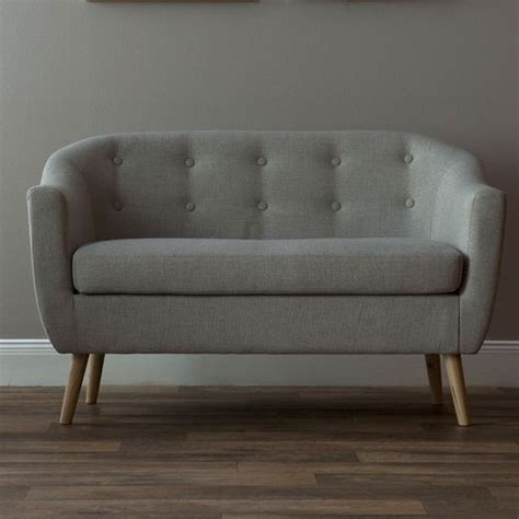 felio 2 seater sofa in fabric with wooden legs